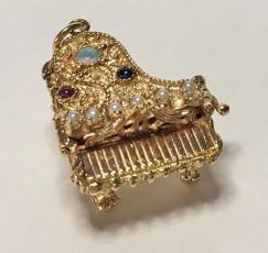 14K Jeweled Piano Pendant