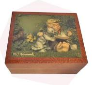 Small Hummel Cat's Meow Decoupage on Music Box