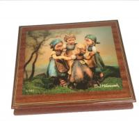 "Hummel Music Box with four little girls playing the game ""Ring around the Rosie"""