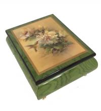 Humming Bird with Hibiscus Flowers on Green Music Box by Ercolano