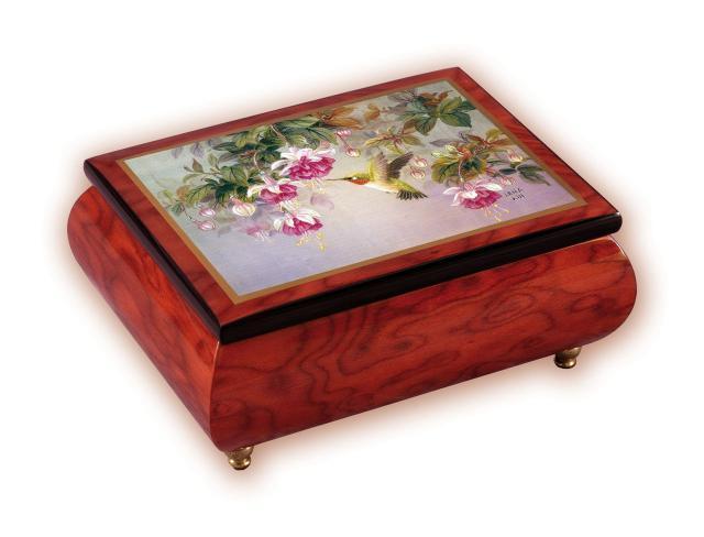 Hummingbird with Fuchsia Flowers Music Box
