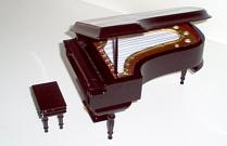 miniature glossey black grand piano