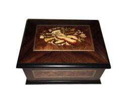 Handsome Walnut Music Box with Burled Elm Panels and instrument inlay