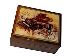 decoupage Music Box with Piano and Angels