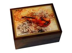 Musical Box with Violin and Angels decoupage