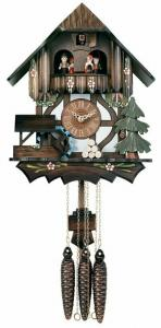 Carved Musical Cottage Cuckoo Clock with Dancers and Waterwheel