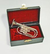 Miniature Baritione Horn / Tuba Silver Tone 3.5