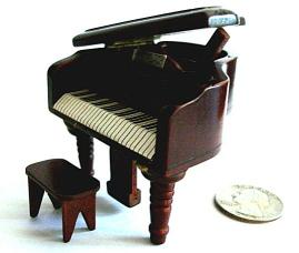 Miniature Baby Grand Piano in Walnut finish