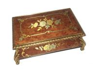 Reuge Kings Box with Pewter and Brass Floral Inlay