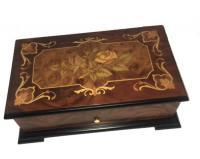 ornately framed Rose on Walnut musical Box - Reuge (3.72)