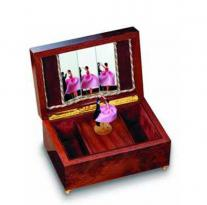 Lady in Pink and her Partner Dance and Twirl in a burled elm music box by reuge