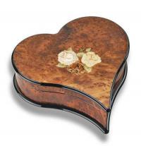 heart shaped Italian inlaid Heart and Flowers on burl elm music box