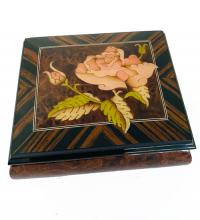 Italian Inlay rose bloom with herringbone rosewood boarder