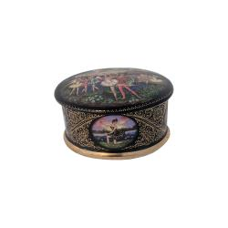 Russian Porcelain Oval Music Box Swan Lake