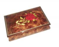 Single Red Rose on Light Elm Musical Box