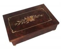 Italian Framed Floral Inlay on Straight Lined Elm Musical Box