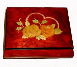 Two Flowers on Heart Inlay Music Box by Ercolano