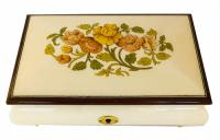 Creamy white Music Box with Floral Inlay