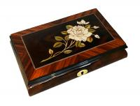 Musical box features White Rose Framed in Walnut Border