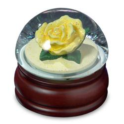 Yellow Rose in Mushroom Shaped Water Globe