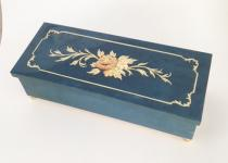 Long and Narrow Blue Musical Box with Italian Floral Inlay