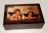 Rafaello's Two Cherubs in Decoupage on Walnut Finish Music Box