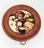 Hummel Pull String Girl with Chicks in Carved Frame