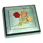 Tulips Inlay on Light Blue Musical Box