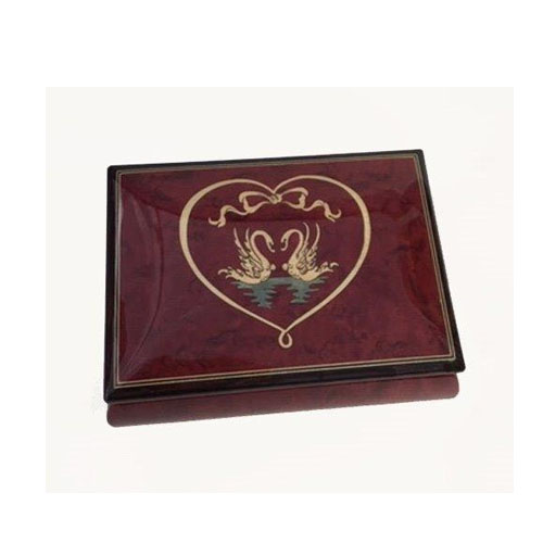 Swans Music Box in Wine Red