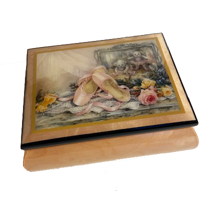 Pink Music Box featuring Ballet Slippers on Lid