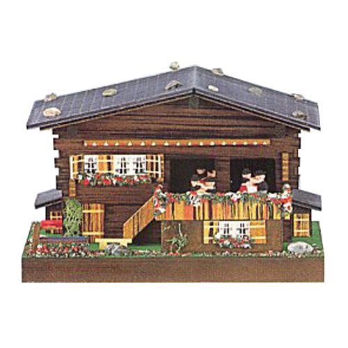 Swiss Chalet Music Box with 3 Waltzing Couples