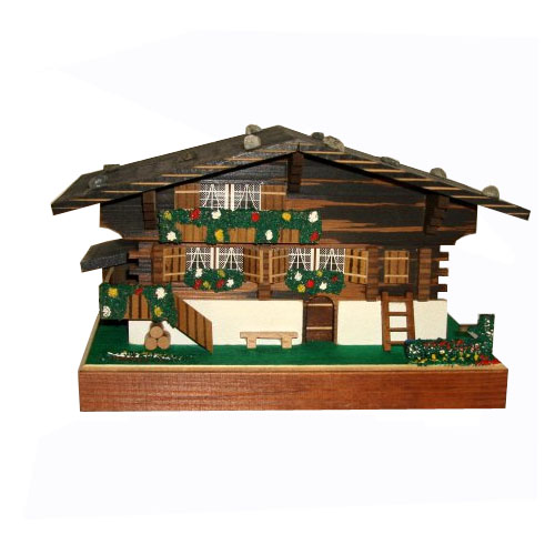 Swiss Chalet Music Box with Bench, Ladder and Logs 2 Tunes 22 notes