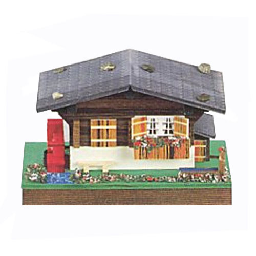 Swiss Chalet Music Box with Turning Water Wheel