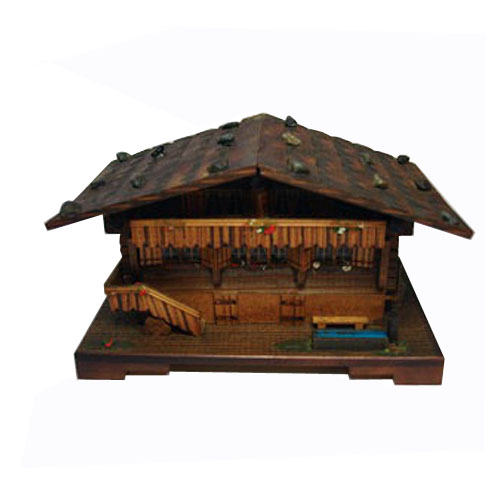 Swiss Chalet Vintage Music Box with Bench and logs 2 Tunes 22 Notes