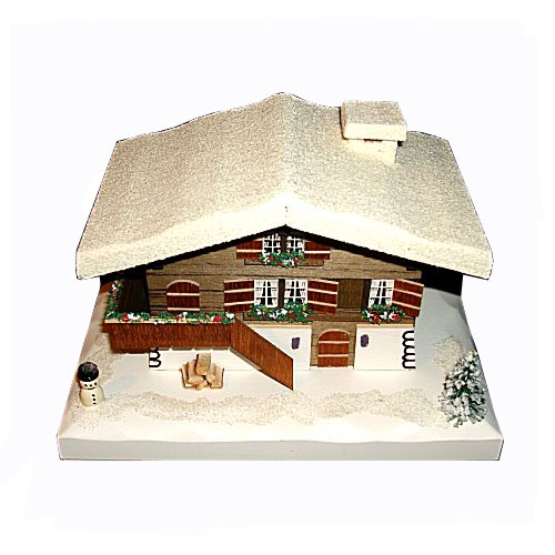 Swiss Farm House Music Box with Snow and Snowman