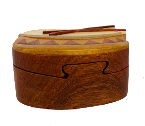 Side view of drum puzzle box