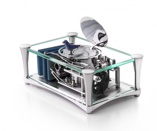 The New Reuge Enchanted Singing Birds within Crystal Clear Panels by Reuge