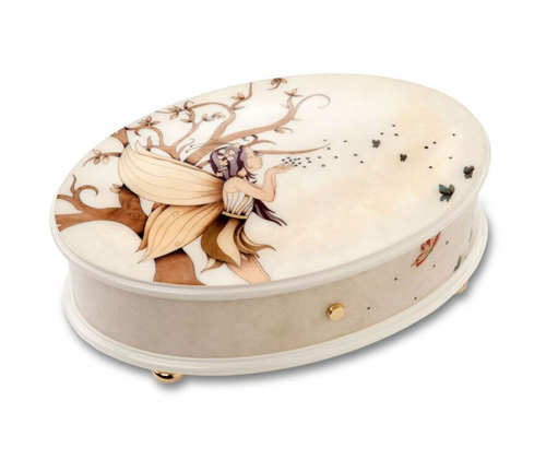 Soft and lovely fairy imagery on white oval musical box  by reuge 3.72 note