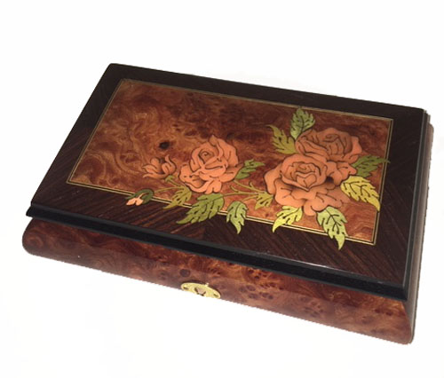 Three Roses on Corner of Elm and Walnut Music Box (1.18)