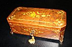 Mozart Music Box, Reuge Musical Box with Exquisite Floral Marquetry  on Ornate Brass Feet (3.72)