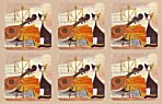 Pimpernel Musical Cat Coasters Set of 6