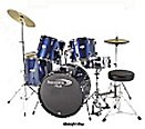 A Percussion Plus 5 Piece Power Drum Set with Cymbals and Throne