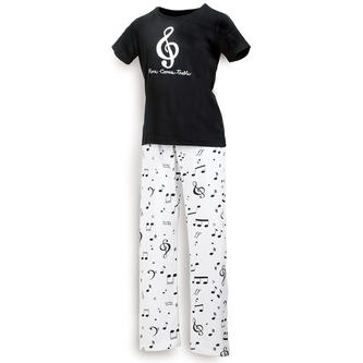 "Ladies Pajamas, Black T Shirt says ""Here Comes Treble"" with White Jersey PJ Pants with musical note design"