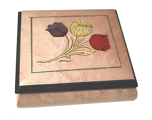 Tulips Inlay on Pink Musical Box