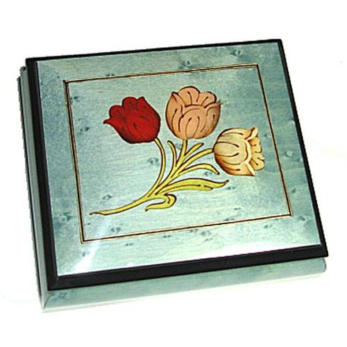Tulips Inlay on Light Blue Musical Box