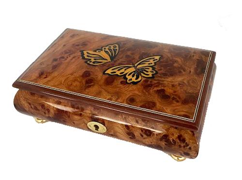 Two butterflies on Elm Music Box