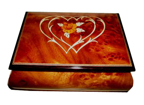 Two Hearts as One with Flower Inlay on Musical Box