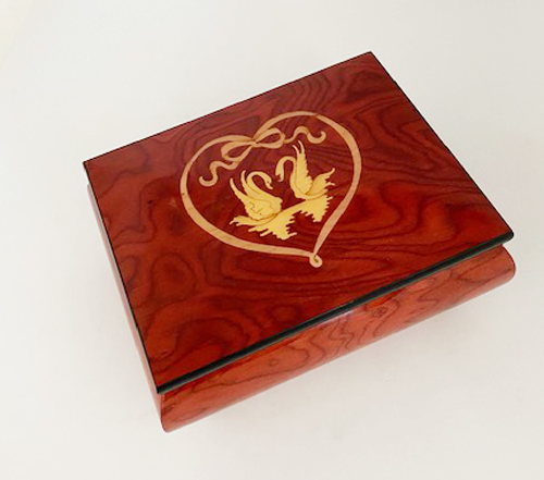 Two Swans in Heart on Wine Red Music Box