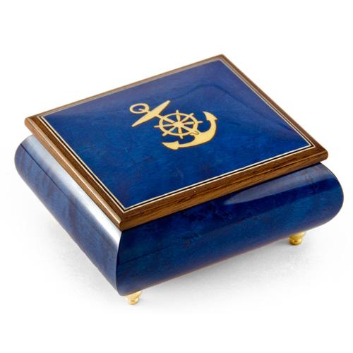Blue Italian Music Box featuring an inlaid Anchor
