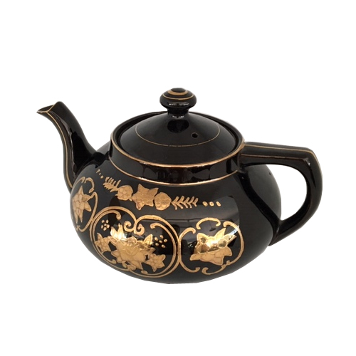 Vintage Black and Gold Teapot with Floral Design